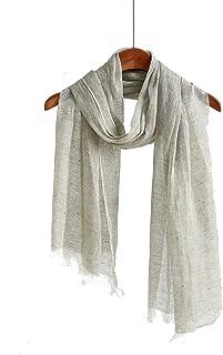 亚麻围巾女式轻质围巾男式夏季围巾纯色围巾和披肩  浅* Medium