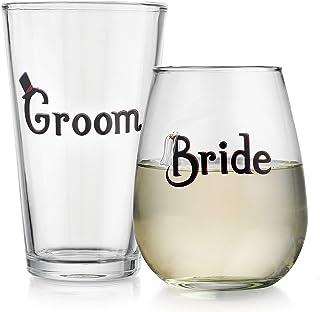 Elegant Home 个性化礼物套装 新娘& 新郎啤*和无*杯 - 独特新颖 - 恶作剧礼品。