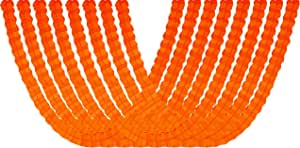 四片叶纸质悬挂花环 适用于派对用品、装饰和彩带 8 件装 橙色 GAR