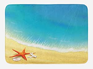 """Ambesonne 多色浴室脚垫 标准尺寸 Blue Sand 29.5"""" W By 17.5"""" L bath_35887"""