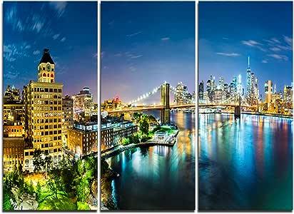 设计艺术 多彩纽约市全景景城市风景帆布印刷
