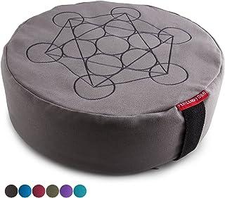 Peace Yoga Zafu Meditation Yoga Buckwheat Filled Cotton Bolster Pillow Cushion with Premium Designs - Choose your Design &...