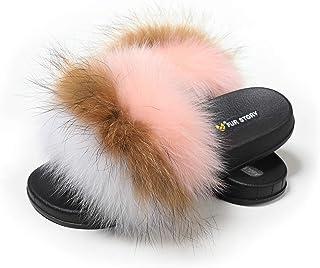 Fur Story 女式狐狸毛拖鞋毛绒拖鞋户外蓬松凉鞋露趾毛皮拖鞋