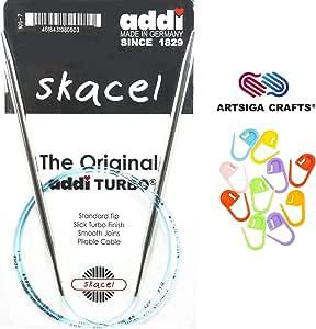 addi Turbo 圆形47英寸 cm 织针 with 10artsiga CRAFTS stitch 马克笔