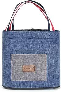 午餐保温袋 盒 容器 女士 工作学校午餐袋 手提袋 旅行出游 食物 温暖或冷藏盒 防水容器 水果 新鲜携带 带拉链闭合面料 中号 Aike Home 蓝色混色 AKWZ004-BM