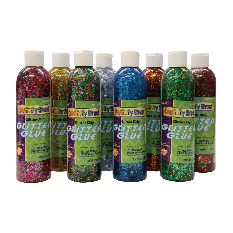 chenille kraft glitter chip glue, 8 color, set 8