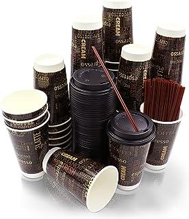 50 包 | 高级 453.59 毫升一次性纸咖啡杯带盖和搅拌器吸管 | 一次性热杯采用隔热双层壁技术 Bottoms Up Cups 出品