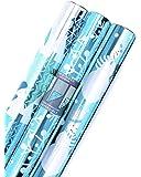 Hallmark 5JXW1623 Elegant Foil Reversible Wrapping Paper (3 Pack), Blue