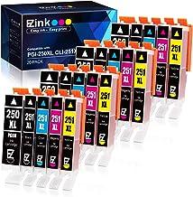 E-Z 墨水 (TM) 兼容墨盒替換件適用于佳能 PGI-250XL PGI 250 XL CLI-251XL CLI 251 XL 適用于 PIXMA MX922 MG5520(4 大黑色,4 青色,4 紫紅色,4 黃色,4 小碼黑色)20 包