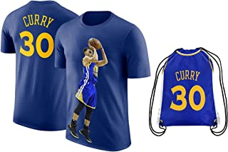 steph 库里球衣风格 t 恤儿童库里蓝色 T 恤礼品套装青年尺寸 ✓ 优质 ✓ 轻质透气面料 ✓ 篮球背包礼品包装