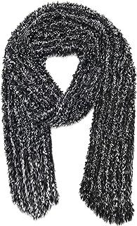 ANVI HOME 女式冬季人造毛皮针织围巾,177.8 x 15.24 cm,炭黑色