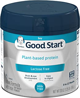 Gerber Good Start Plant Based Protein, Lactose Free Non-GMO Powder Infant Formula, Stage 1, 20 oz