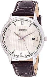 Seiko Men's SGEH83 Silver Leather Japanese Quartz Fashion Watch