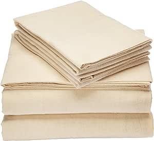 Tribeca Living Luxury Solid Flannel Deep Pocket Sheet Set, Ivory, Queen