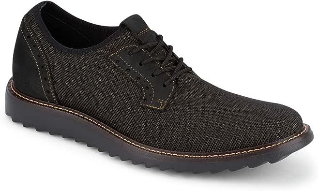 Dockers 男士 Einstein 针织/皮革智能系列正装休闲牛津鞋 NeverWet Bronze/Black Textile/Nubuck 11.5 M US