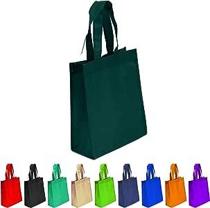 无纺布可重复使用手提袋,重型无纺聚丙烯,小礼品手提袋,书袋,无纺布袋,多用途艺术工艺丝网印刷书包 深* Set of 10