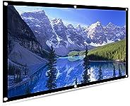 100 英寸投影屏幕 16:9 HD 便携式投影显示电影屏幕可折叠防折痕便携式投影仪电影屏幕适用于家庭影院、户外野营影院,支持双面项目