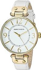 Anne Klein 安妮克莱因 女士109168WTWT金色手表,白色皮革表带