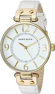ANNE KLEIN 女士 109168WTWT 金色调手表搭配白色皮革表带,White,One Size