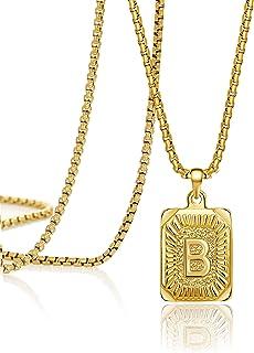 Joycuff 金色首字母项链女士吊坠项链 16 18 20 22 24 英寸 时尚手工方形不锈钢首饰