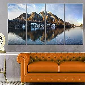 "Designart Fuschlsee in the Salzkammergut 大海景艺术油画印刷品 蓝色 48x28"" - 4 Equal Panels PT11641-271"