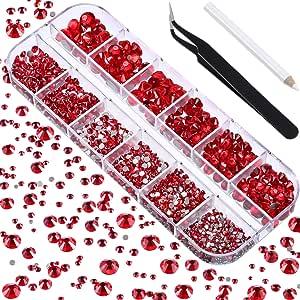 TecUnite 2000 件平背宝石圆形水晶莱茵石 6 种尺寸(1.5-6 毫米),带拾取镊子和水钻开孔笔 用于手工艺品美甲脸艺术服饰包 DIY 红色 TecUnite-Rhinestones-01