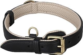 PawFurEver 柔软透气软垫皮革狗项圈 | 设计优雅 | 重型狗项圈 | 让您的狗狗舒适(适合小号、中号、大号和加大号犬种) 黑色/米色 中