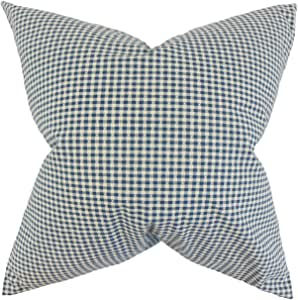 "The Pillow Collection Hye Plaid Euro Sham 蓝色 蓝色 European/26"" x 26"" EURO-D-32739-BLUEBERRY-C100"