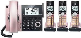 AT&T CL84327 3 听筒有线/无绳电话,带应答系统和智能电话屏蔽器,玫瑰金