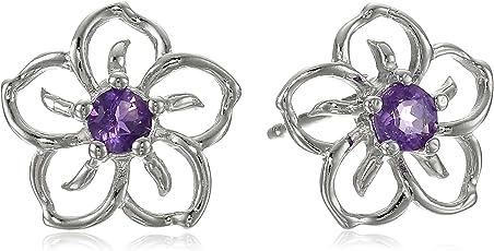 Amazon Collection 美国亚马逊自有品牌 纯银紫晶花形耳饰 女士耳钉