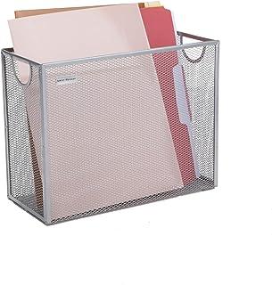 Mind Reader FILEBASK-SIL 金属网状储物篮适用于信件、法律文件、文件夹、办公室组织,银色