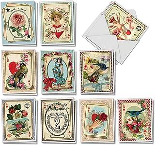 The Best Card Company All Decked Out – 20 个组合盒装母亲节记事卡片带信封(10.16 x 13.97 厘米)– 复古心形扑克牌 AM2381MDG-B2x10
