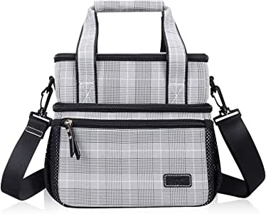 FYY 隔热午餐袋大容量午餐盒面料双层隔层冷藏袋,带手柄和肩带,适用于成人/儿童/学校/办公室/野餐 黑色 FYY-US-0313-Lunch-Bag-BK
