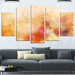 "Designart MT146-271 棕色红粉花朵 - 大型花卉光泽金属墙壁艺术,粉色/棕色 / 红色,121.92x71.12 Pink/Brown/Red 60x32"" - 5 Panels Diamond Shape MT14146-373"
