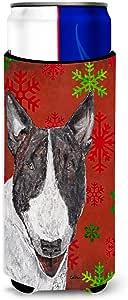 Caroline's Treasures SC9589-Parent Bull Terrier 红色雪花圣诞*饮料隔热器适用于苗条罐,多色 多种颜色 Slim SC9589MUK