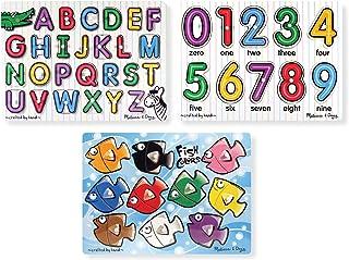 Melissa & Doug 经典带钉拼图套装(字母,数字和鱼带颜色)