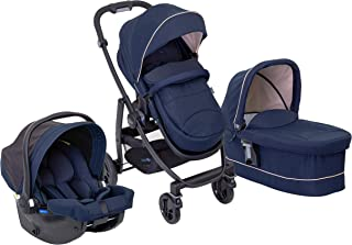 Graco 葛莱 Evo Trio 婴儿车、提篮和汽车座椅旅行系统,带围裙和雨罩 Eclipse