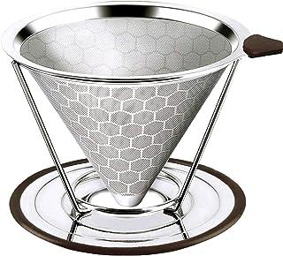 Pour Over 咖啡滤杯不锈钢咖啡滤芯,可重复使用倒入咖啡滤芯咖啡滤芯,超细微网滤芯 - 无纸倒入咖啡机 银色 115