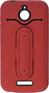 Eagle Cell Hybrid Armor Protective Case with Stand for HTC Desire 510 - Retail Packaging - Black/Red