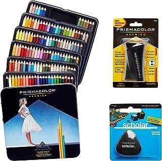 Prismacolor 优质艺术套装 - 高级彩色铅笔 132 件装,高级铅笔磨刀,1 包和不含乳胶的Scholar 橡皮擦,1 包