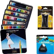 Prismacolor 優質藝術套裝 - 高級彩色鉛筆 132 件裝,高級鉛筆磨刀,1 包和不含乳膠的Scholar 橡皮擦,1 包