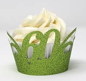 All About Details 60 纸杯蛋糕包装,12 件,60 岁生日纸蛋糕包装,60 周年纸杯蛋糕包装,60 周年纪念纸杯,60 周年装饰 Glitter Lime Green CWR60