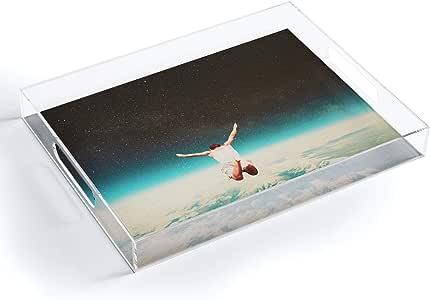 "Society6 Frank Moth Falling with A Hidden Smile 亚克力托盘,13.97 cm x 30.48 cm,多色 多种颜色 5.5""x 12"" 70856-acrmdt"