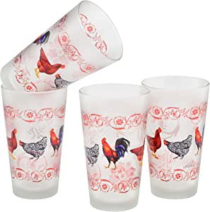 Culver Pint/Pub 啤酒杯,16 盎司,4 件套 Chickens/Frosted 16盎司