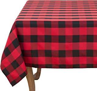 "Fennco Styles Buffalo Plaid Check Classic Cotton Blend Tablecloth (70""x70"" Tablecloth)"