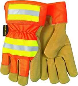 MCR Safety 19251L Luminator Grain Pigskin Leather Fleece Lined Palm Gloves with 2-1/2-Inch Safety Cuff, Gold/Orange, Large Gold/Orange 中