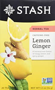 Stash Tea Lemon Ginger Herbal Tea, 20 Count Tea Bags in Foil (Pack of 6)