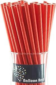 可生物降解纸饮用吸管(优质),条纹 Plain Solid Red Pack of 50 stw-50-rd-pl