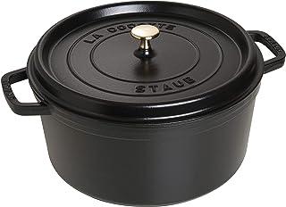 Staub 6-1/4 夸脱(约 5.9 升)圆形炖锅 磨砂黑 9 quart