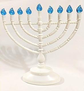 优质 Judaica LED 光明节烛台,电池或 USB 供电,包括微型 USB 线,白色带蓝色灯泡